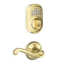 Plymouth Trim Keypad Deadbolt paired with Flair Lever Hall & Closet Lock - Bright Brass
