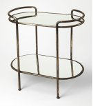 Serve hors d'oeuvres and cocktails at your next soiree with this essential cart, or set in the bathroom as an unexpected stage for toiletries or unique accents. Features mirrored shelves and a metal base it is a must have! Product Image