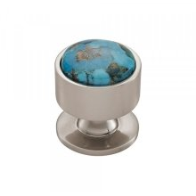 Firesky Mohave Turquoise Knob 1 3/8 Inch Brushed Satin Nickel