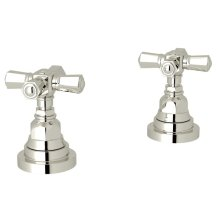 """Polished Nickel San Giovanni Set Of Hot & Cold 1/2"""" Sidevalves with Cross Handle"""