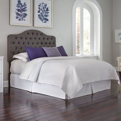 Moselle Button-Tuft Upholstered Headboard with Adjustable Height, French Gray Finish, Twin