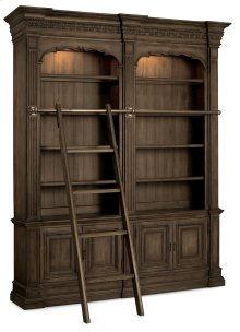 Home Office Rhapsody Double Bookcase with Ladder and Rail