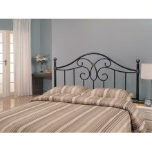 Traditional Black Iron Queen Headboard