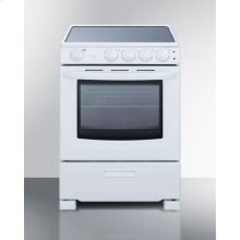 "24"" Wide Smooth-top Slide-in Look Electric Range In White, With Lower Storage Drawer and Oven Window"