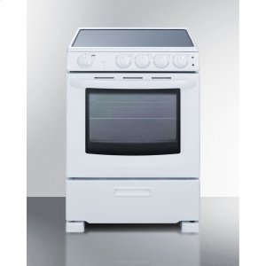 "Summit24"" Wide Smooth-top Slide-in Look Electric Range In White, With Lower Storage Drawer and Oven Window"
