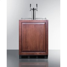 Built-in Undercounter ADA Height Commercially Listed Dual Tap Beer Dispenser With Panel-ready Door and Black Cabinet