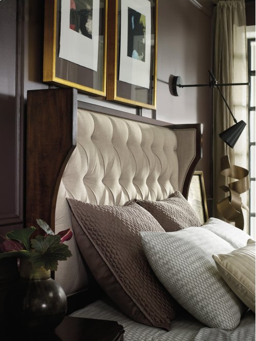 Bedroom Palisade Upholstered Shelter Queen Bed - Taupe Fabric