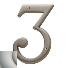 Satin Nickel with Lifetime Finish House Number - 3