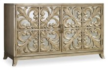 Living Room Melange Fleur-de-lis Mirrored Credenza
