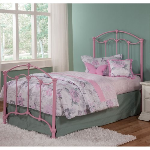 Amberley Complete Kids Bed with Metal Duo Panels and Floral Medallions Accents, Pastel Pink Finish, Full