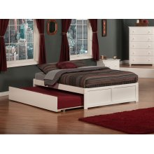 Concord Full Flat Panel Foot Board with Urban Trundle White