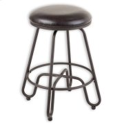 Denver Metal Counter Stool with Backless Brown Upholstered Swivel-Seat and Umber Metal Frame Finish, 26-Inch Product Image