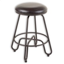 Denver Metal Counter Stool with Backless Brown Upholstered Swivel-Seat and Umber Metal Frame Finish, 26-Inch
