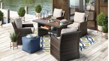 Salceda - Beige/Brown 5 Piece Patio Set (Table and 4 Chairs)