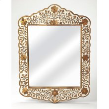 This magnificent wall mirror features sophisticated artistry and consummate craftsmanship. The botanic patterns covering the piece are created from Teak Wood inlays cut and individually applied in a sea of white magestic hues by the hands of a skillful ar
