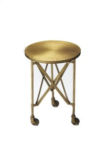 Crafted from iron on iron casters, this gold toned industrial chicaccent table evokes the charm of a by gone era. This table features a distinctive interlaced base linking legs and table top.