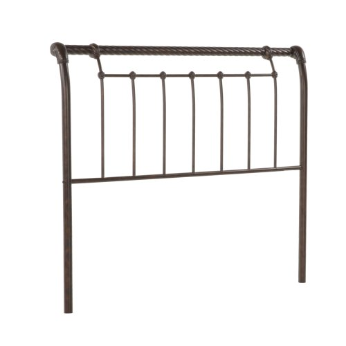 Legion Complete Metal Bed and Steel Support Frame with Sleigh-Styled Panels and Twisted Rope Top Rails, Ancient Gold Finish, California King