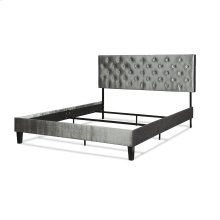 Hayworth Complete Upholstered Bed in a Box and Bedding Support System with Button-Tuft Headboard, Velvet Gray Finish, California King