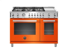 48 inch All-Gas Range 6 Brass Burner and Griddle Orange