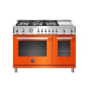 Bertazzoni48 inch All-Gas Range 6 Brass Burner and Griddle Orange