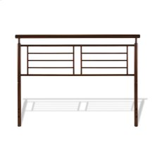 Southport Metal Headboard Panel with Geometric Grill and Rounded Top Rail, Copper Penny Finish, Queen