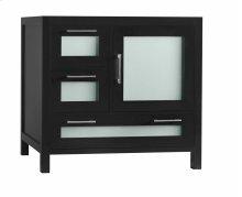 "Athena 36"" Bathroom Vanity Base Cabinet in Black - Door on Right"