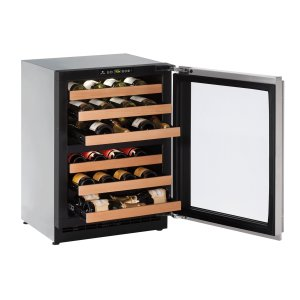 """U-Line 2000 Series 24"""" Wine Captain(r) Model With Stainless Frame (Lock) Finish And Left-Hand Hinged Door Swing (115 Volts / 60 Hz)"""