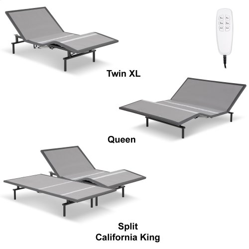 ProMotion 2.0 Low-Profile Adjustable Bed Base with Simultaneous Movement and MicroHook Technology, Charcoal Gray Finish, Queen