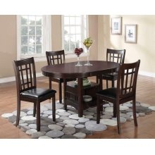 Lavon Transitional Espresso Five-piece Dining Set