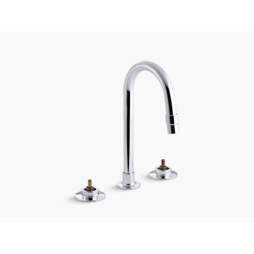 Polished Chrome Widespread Commercial Bathroom Sink Faucet With Rigid Connections and Gooseneck Spout, Requires Handles, Drain Not Included