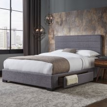 Oliver Storage Bed with Upholstered Frame and Single Side Drawer, Gravel Grey Finish, California King