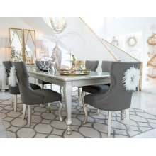 Coralayne - Silver Finish 5 Piece Dining Room Set