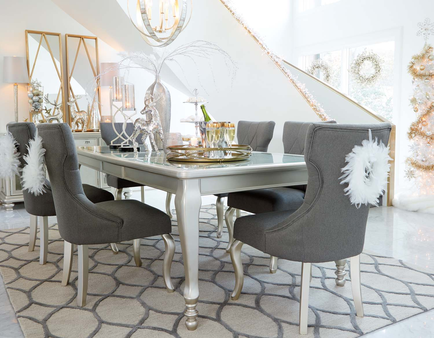 Coralayne   Silver Finish 5 Piece Dining Room Set