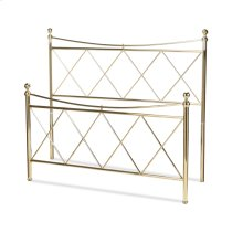 Lennox Metal Headboard and Footboard Bed Panels with Diamond Pattern Design and Downward Sloping Top Rails, Classic Brass Finish, Full