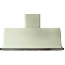 """Antique White with Stainless Steel Trim 48"""" Range Hood with Warming Lights"""