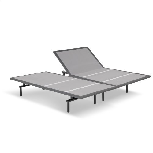 Bas-X 2.0 Low-Profile Adjustable Bed Base with Head Articulation and MicroHook Technology, Charcoal Gray, Split California King