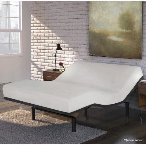 Caliber Low-Profile Adjustable Bed Base with Simultaneous Movement, Flint Onyx Finish, Queen