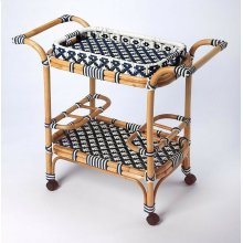 Function, form and fun all come together on this beautiful PU Rattan weave serving cart. The simplistic design of this servig cart is enhanced by a 'POP of contemporary design. The functional design with its intricate patterned weave and patterned remov