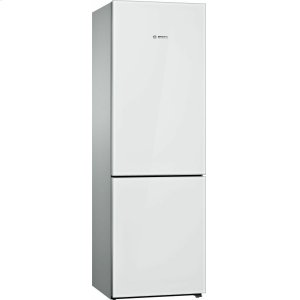 Bosch800 Series Free-standing fridge-freezer with freezer at bottom, glass door 23.5'' White B10CB81NVW
