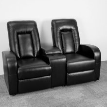 2-Seat Push Button Motorized Reclining Black Leather Theater Seating Unit with Cup Holders
