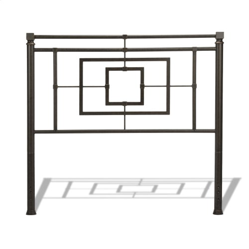 Sheridan Complete Bed with Squared Metal Tubing and Geometric Design, Blackened Bronze Finish, King