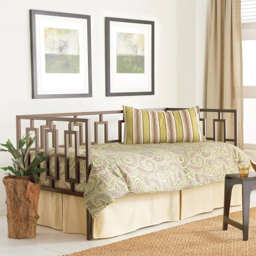 Miami Complete Metal Daybed with Link Spring and Trundle Bed Pop-Up Frame, Coffee Finish, Twin