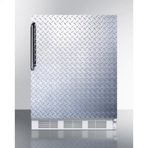 SummitBuilt-in Undercounter Refrigerator-freezer for Residential Use, Cycle Defrost With A Diamond Plate Wrapped Door, Towel Bar Handle, and White Cabinet