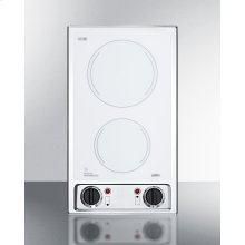 115v 2-burner Radiant Cooktop With Smooth White Ceramic Glass Surface and Preinstalled Cord