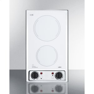 Summit115v 2-burner Radiant Cooktop With Smooth White Ceramic Glass Surface and Preinstalled Cord