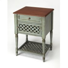 This understated end table is a delightful addition in the living room or bedroom. Expertly crafted from mahogany wood solids and wood products with choice mahogany veneer, it has a two-tone finish with a rustic blue painted surface beautifully complement