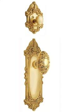 Nostalgic - Handleset Interior Half - Victorian Plate with Victorian Knob in Polished Brass