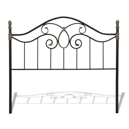 Evanston Complete Metal Bed and Steel Support Frame with Camelback Arches and Soft Gold Highlighted Castings, Blackened Copper Finish, Full