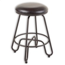 Denver Metal Barstool with Backless Brown Upholstered Swivel-Seat and Umber Metal Frame Finish, 30-Inch