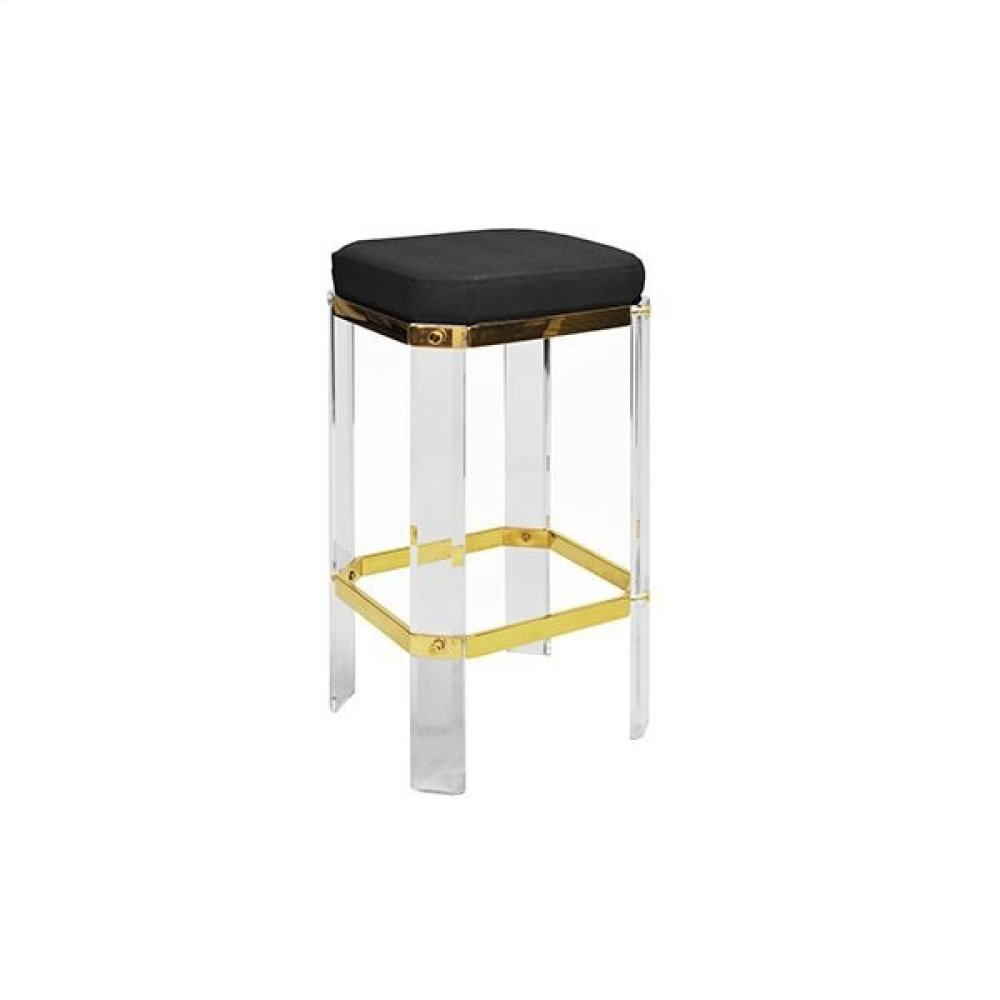 Acrylic Counter Stool With Brass Accents & Black Shagreen Cushion
